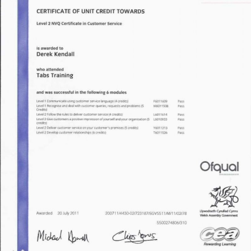 Level 2 NVQ Customer Service 2